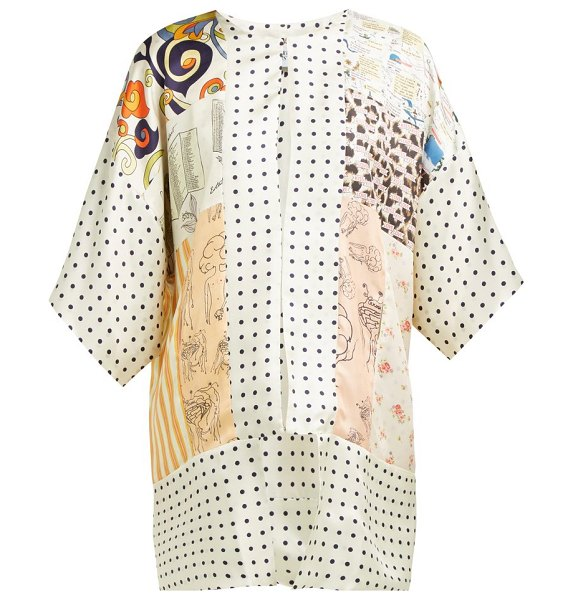 La Prestic Ouiston mixed print silk kimono style jacket in cream multi