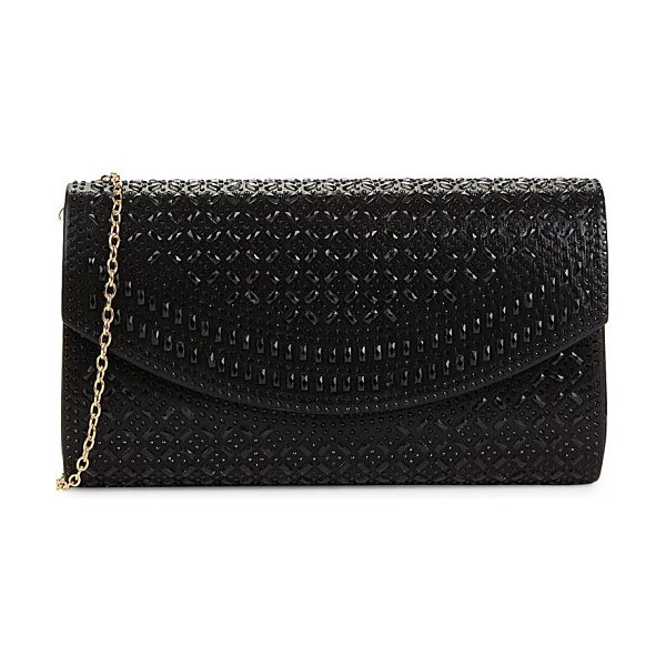 LA REGALE Edwardian-Style Crystal Clutch in black
