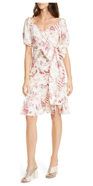 La Vie by Rebecca Taylor averie wrap dress in red currant combo
