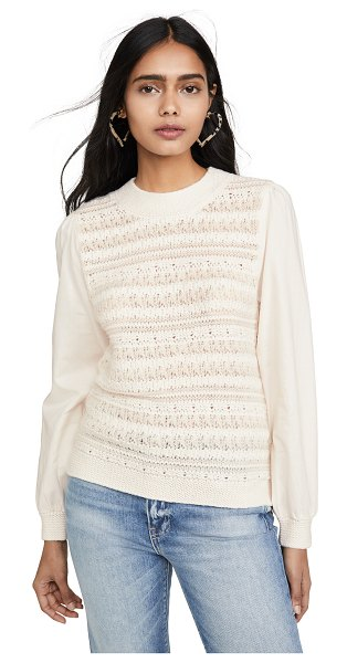 La Vie by Rebecca Taylor mixed media pullover in creamsicle