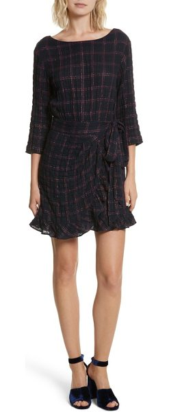 La Vie by Rebecca Taylor metallic plaid dress in navy combo - A festive metallic sheen adds special-occasion flair to...