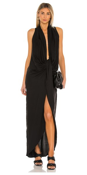 L'Academie drape front midi dress in black