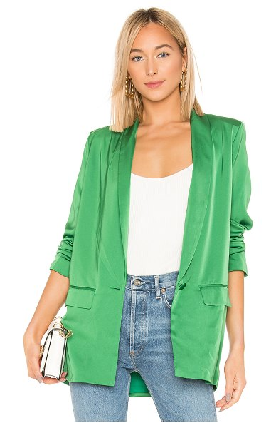 L'Academie The Fleur Blazer in green - Self: 96% poly 4% elastaneLining: 97% poly 3% elastane....