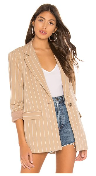 L'Academie The Jeanette Blazer in tan - Self: 97% poly 3% elastaneLining: 100% rayon. Hand wash...