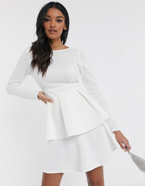 Laced In Love tiered mini dress with cut out back in white in white