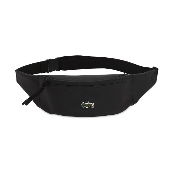 LACOSTE Logo nylon belt bag in black - Height: 10cm Width: 22cm Depth: 6cm. Adjustable belt...
