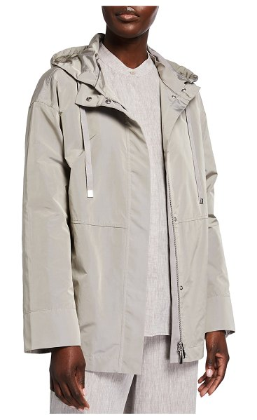 Lafayette 148 New York Ansel Jacket with Removable Hood in driftwood