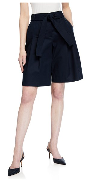 Lafayette 148 New York Arthur Metro Stretch Pleated Shorts in navy