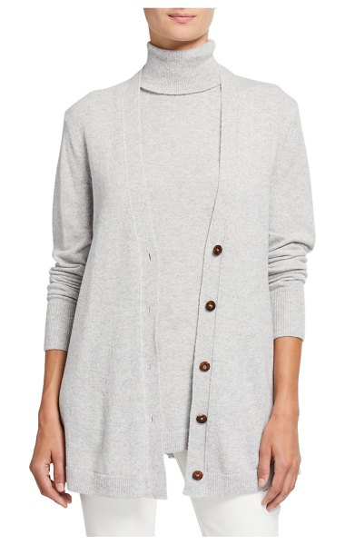 Lafayette 148 New York Cashmere Button-Front A-Line Cardigan in light gray