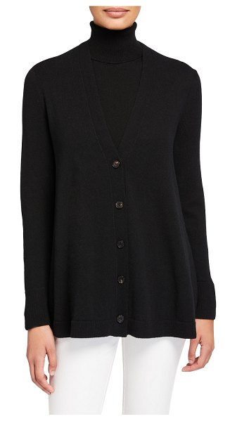 Lafayette 148 New York Cashmere Button-Front A-Line Cardigan in black