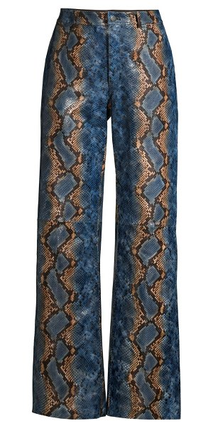 Lafayette 148 New York clark snakeskin-print leather pants in perwinkle multi