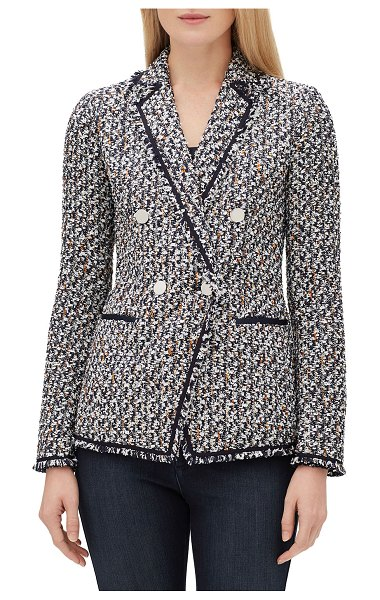 "Lafayette 148 New York Devin Double-Breasted Tweed Jacket in blue pattern - Lafayette 148 New York ""Devin"" tweed blazer with solid..."