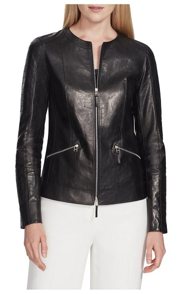 Lafayette 148 New York Everly Zip-Front Glazed Weightless Quilted Lambskin Jacket in black