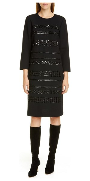 Lafayette 148 New York giovanetta sequin stripe wool shift dress in black