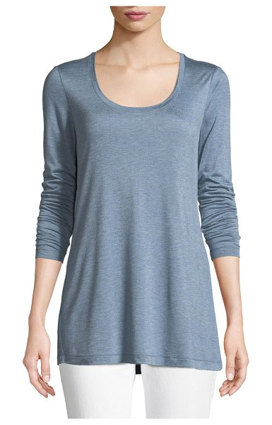 Lafayette 148 New York Hallie Featherweight Jersey Long-Sleeve Top in chambray melange