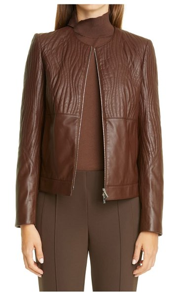 Lafayette 148 New York harrigan quilted leather jacket in dark russet