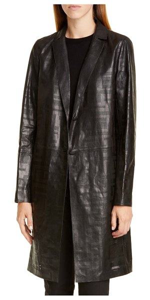 Lafayette 148 New York jobelle laser cut lambskin leather trench coat in black