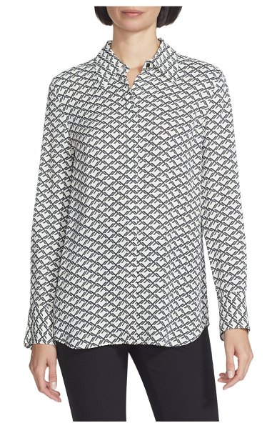 Lafayette 148 New York Julianne Minimalist Monogram Long-Sleeve Crepe Blouse in cloud multi