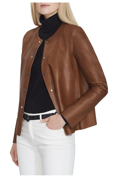 Lafayette 148 New York Leo Calf Hair Jacket in medium brown