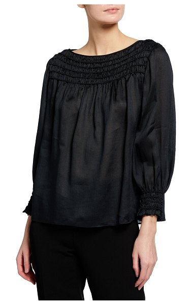 Lafayette 148 New York Paley Smocked Blouse in smoked taupe