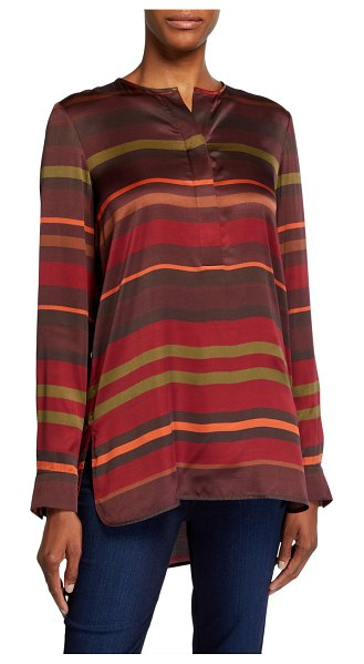 Lafayette 148 New York Prisha Autumn Stripe Sheen Cloth Long-Sleeve Blouse in rust multi