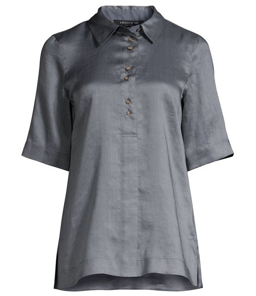 Lafayette 148 New York remi slit shirt in bluestone