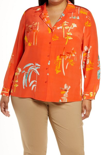 Lafayette 148 New York rigby oasis print button-up blouse in vibrant persimmon multi