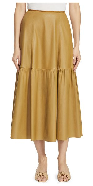 Lafayette 148 New York Safford Tiered Leather Skirt in seagrass