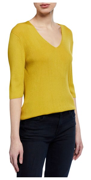Lafayette 148 New York Voile Fine Spun V-Neck Ribbed Top in yellow