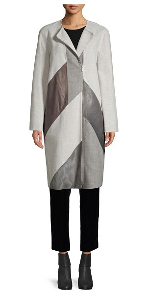 Lafayette 148 New York Wool-Blend, Calf Hair & Leather Combo Coat in feather grey