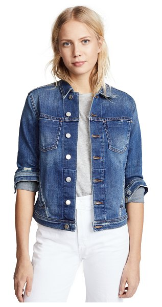 L'AGENCE celine slim fit distressed jacket in authentique distressed