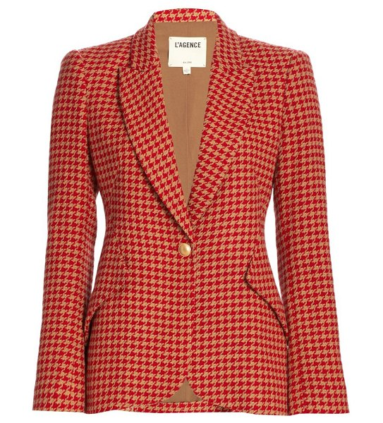 L'AGENCE chamberlain houndstooth blazer in fiery red