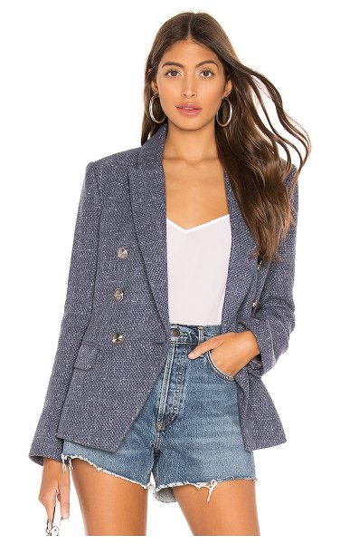 L'AGENCE Kenzie Double Breasted Blazer in blue - Self: 50% poly 34% cotton 16% viscoseLining: 55% poly...
