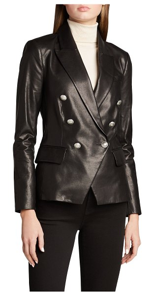 L'AGENCE Kenzie Double-Breasted Leather Blazer in black