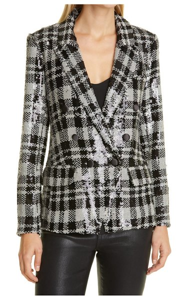 L'AGENCE kenzie sequin check double breasted blazer in ivory/black
