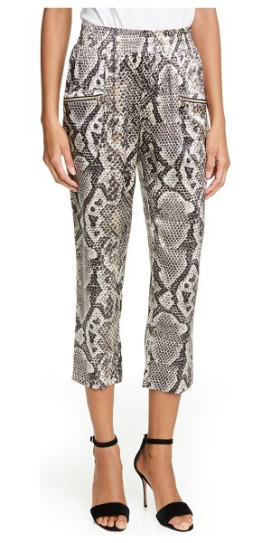 L'AGENCE leigh snake print drapey silk pants in natural multi python
