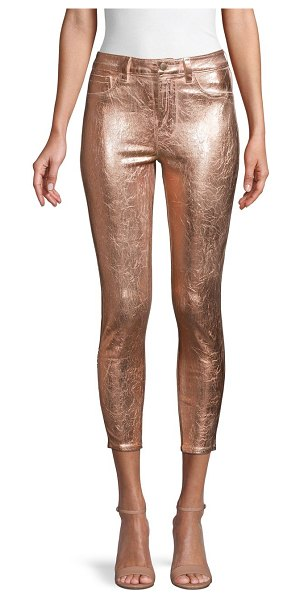 L'AGENCE Margot High-Rise Foil Skinny Ankle Jeans in metallic
