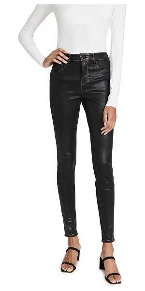 L'AGENCE marguerite high rise coated skinny jeans in noir contrast coated