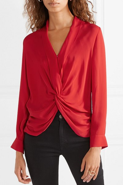 L'AGENCE mariposa twisted silk crepe de chine blouse in red - L'Agence's 'Mariposa' blouse is cut from fluid silk...