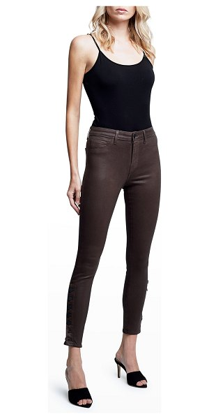 L'AGENCE Piper High-Rise Coated Skinny Jeans w/ Ankle Buttons in espresso coated