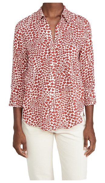 L'AGENCE ryan 3/4 sleeve blouse in antique white/earth red amour