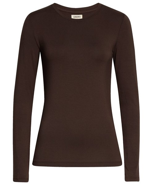 L'AGENCE tess long sleeve stretch jersey top in espresso