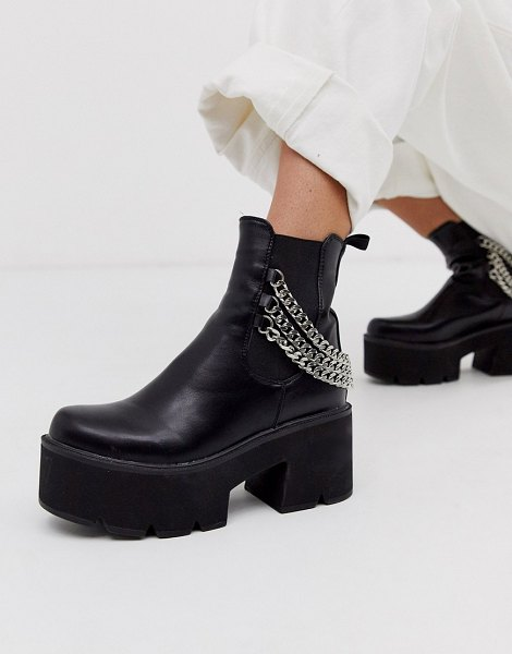 Lamoda black chunky chelsea boots with chain detail in black