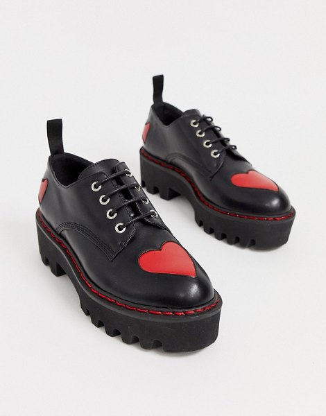 Lamoda black chunky lace up shoes with hearts in black