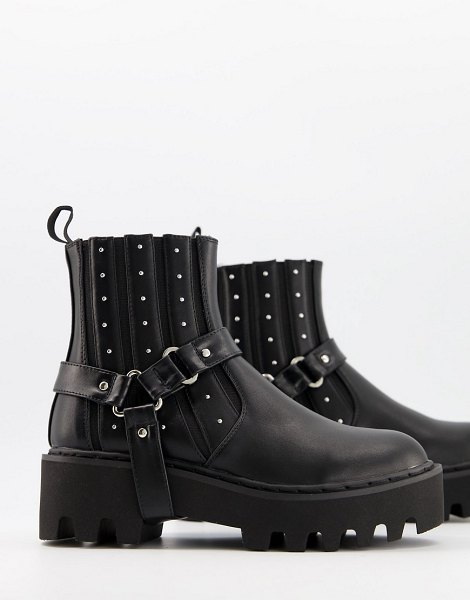 Lamoda chunky boots with harness detail in black in black