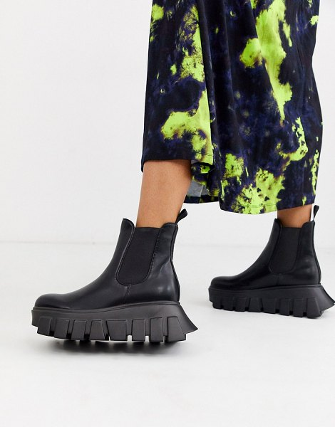 Lamoda extreme chunky sole chelsea boots in black in black