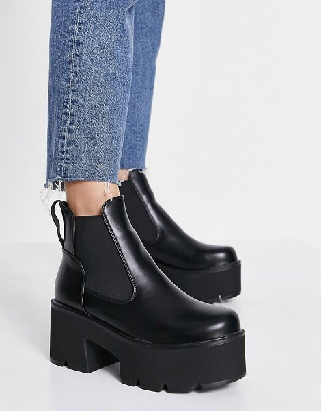 Lamoda tough love chunky heel chelsea boots in black in black
