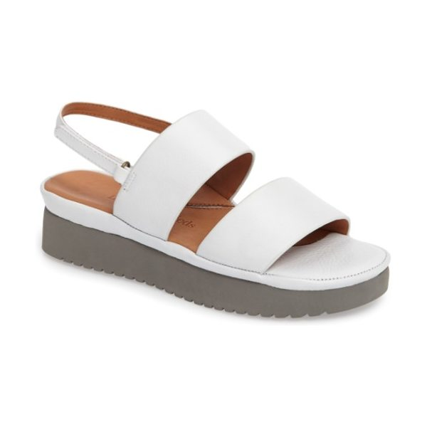 L'Amour des Pieds abruzzo slingback platform wedge sandal in white leather