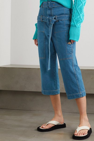 Lanvin belted cropped high-rise straight-leg jeans in blue