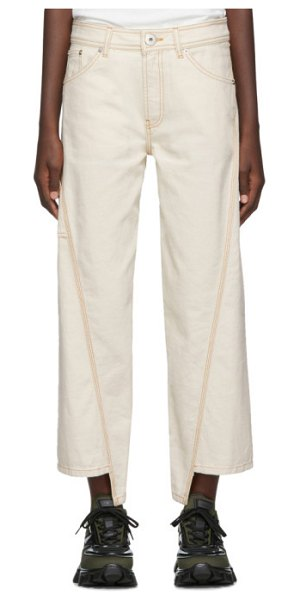Lanvin off-white asymmetric jeans in 021 cream